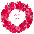 Greeting card, flowers. cartoon. doodle style, lovely image. for Valentine's Day, birthdays, and other Gift Royalty Free Stock Photo