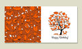 Greeting card with foxy tree design