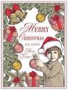 Greeting card, frame. Happy New Year Merry Christmas. Family. Child, boy. Santa, tree. Winter. Vintage vector illustration. Royalty Free Stock Photo