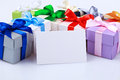 Greeting card with gift boxes Royalty Free Stock Photo