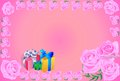 Greeting card gift roses with a picture of gifts and as background for Stock Images