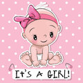 Greeting card it is a girl with baby