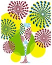 Greeting card with glass and colorful fireworks, color vector illustration on white background Royalty Free Stock Photo