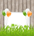 Greeting card with grass and balloons in irish fla illustration flag color for st patricks day vector Stock Image