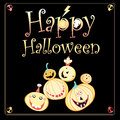Greeting card for halloween on a black background with pumpkins and skulls Stock Images