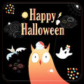 Greeting card for halloween with fabulous creatures on a black background Stock Images