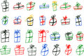 Greeting card hand draw sketch of gifts at many color and shape Royalty Free Stock Photo