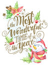 Greeting card of hand-drawn lettering, watercolor snowman and holidays decorations.