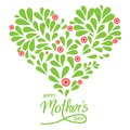 Greeting card with handwritten sign Happy Mothers day and heart