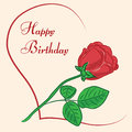 Greeting card happy birthday with rose and heart