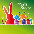 Greeting card happy easter colorful easter eggs with and rabbit Royalty Free Stock Images
