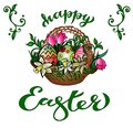 Greeting Card `Happy Easter` With Handwritten Congratulation