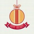 Greeting Card Happy Holidays Vector. Ball Form