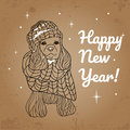 Greeting card for Happy New Year with a dog.