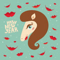 Greeting card Happy New Year with horse Royalty Free Stock Photo