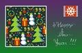 Greeting card Happy New Year! Snowflake, snowman, Christmas tree, gift, stars.