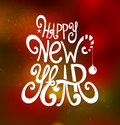 Greeting card happy new year white inscription Stock Images