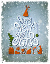Greeting card happy new year white inscription Royalty Free Stock Photos