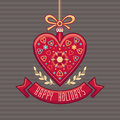 Greeting Card in heart form. Happy Holidays.