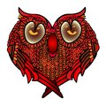 Greeting card with heart - settled cute owl in love, Valentine s day or wedding congratulations.