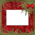 Greeting card for the holiday, with a red ribbon Royalty Free Stock Image