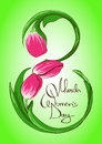 Greeting card with international women s day march stylized tulip floral symbol of Royalty Free Stock Images