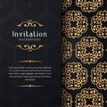 Greeting card invitation with lace and floral ornaments, Gold ornamental pattern background illustration, Royalty Free Stock Photo
