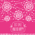 Greeting card Just smile and be happy Royalty Free Stock Photo