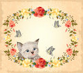 Greeting card with kitten Royalty Free Stock Images