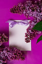 Greeting card with lilac flowers Stock Image