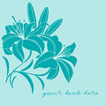 Greeting card with lilies on a blue background Royalty Free Stock Photos