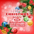 Greeting card Merry Christmas and Happy New Year, Christmas, holly berry, spruce branch and colored balls Cartoon style Royalty Free Stock Photo