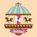 Greeting card with merry go round vector illustration Stock Image