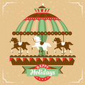 Greeting card with merry go round vector illustration Stock Photography