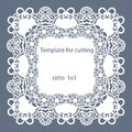 Greeting card with openwork border, paper doily under the cake, template for cutting, wedding invitation, decorative plate is lase