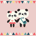 Greeting card pandas in love on peach with bunting flags