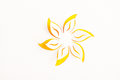 Greeting card paper flower yellow flower white background Royalty Free Stock Photos