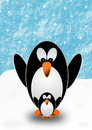 Greeting card with penguins two mother and child on snow Royalty Free Stock Photo