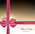 Greeting card with pink bow christmas textured sparkle background vector eps Royalty Free Stock Image