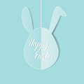 Greeting card with pink Bunny rabbit Easter egg hanging and hand