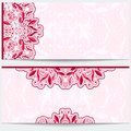 Greeting card with a pink floral pattern gentle east ornament a light background template for celebratory banner or invitation Stock Image