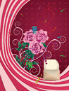 Greeting card with pink roses opened envelope and on dark background Stock Photo