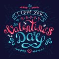Handmade calligraphy design greetingcard with happy valentine's day on darkblue background Royalty Free Stock Photo