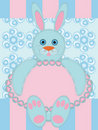 Greeting card with rabbit Stock Photo