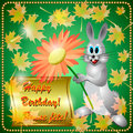 Greeting card with rabbit autumn flowers maple leaves and place for your text Royalty Free Stock Photo