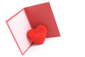Greeting card and red heart photo of Stock Photo