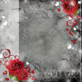 Greeting card with red roses and hearts Royalty Free Stock Photos