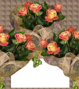 Greeting card with roses closeup Stock Image