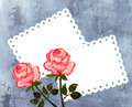 Greeting card with roses on the frosty background white perforated inserts for photos or text box Royalty Free Stock Image