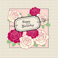 Greeting card with roses vector illustration Stock Image
